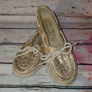 🔴4/$15🔴 Sperry Top-sider gold leopard print